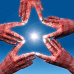 Blog Link building - Hand linked to form a star