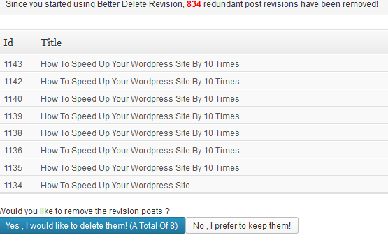 delete wordpress revisions