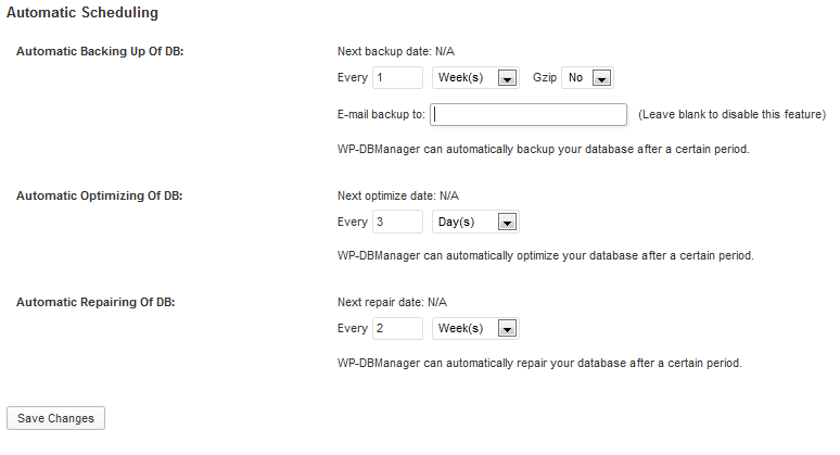 automatic scheduling of wp dbmanager